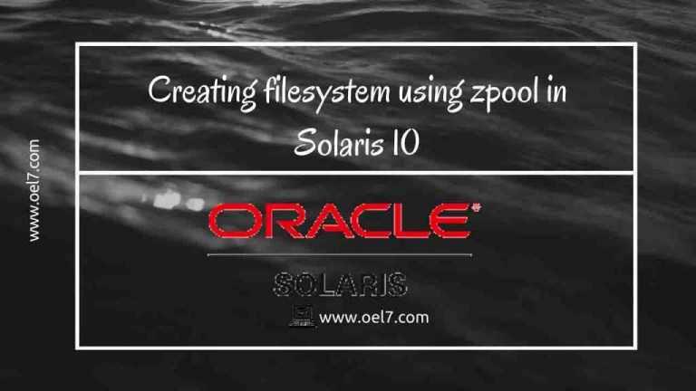 Creating filesystem using zpool in Solaris 10
