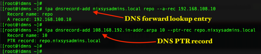 Create DNS records using IPA command from CLI