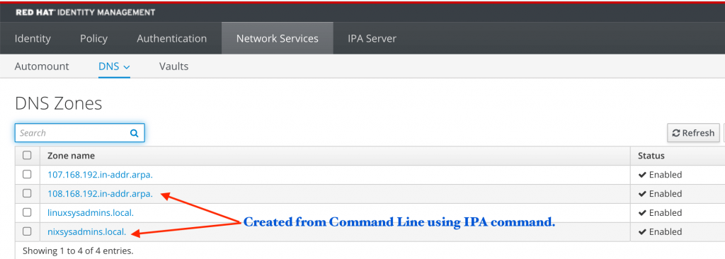 DNS zones created from IPA command line