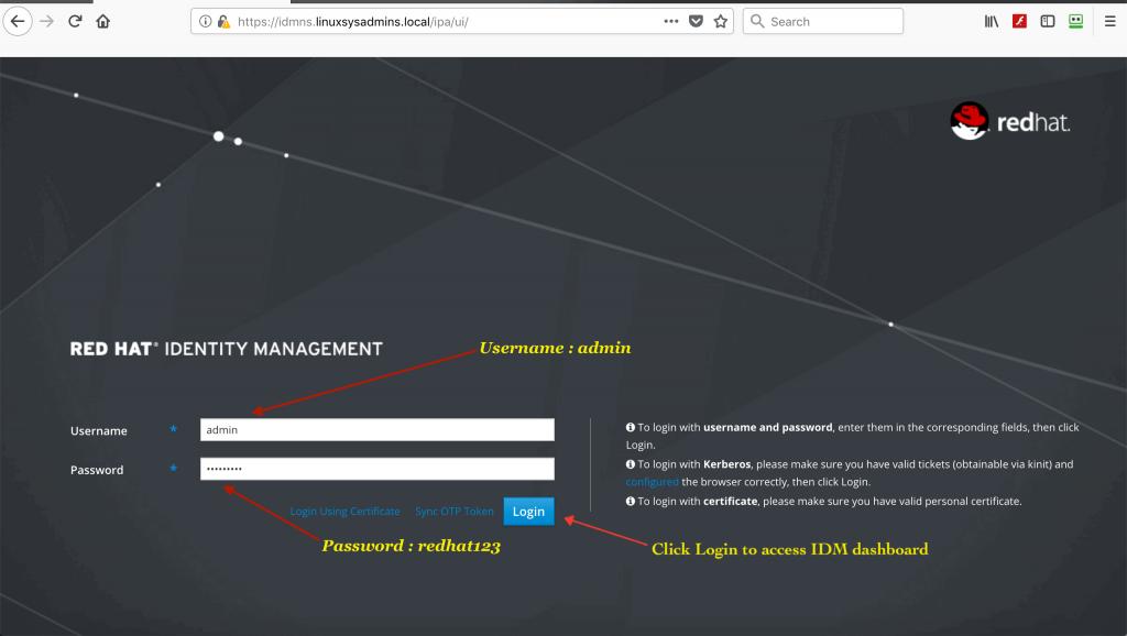 IDM login screen