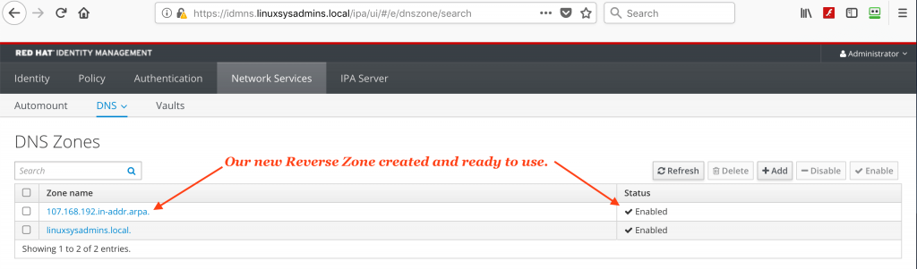 List created PRT zone in Red Hat IPA server