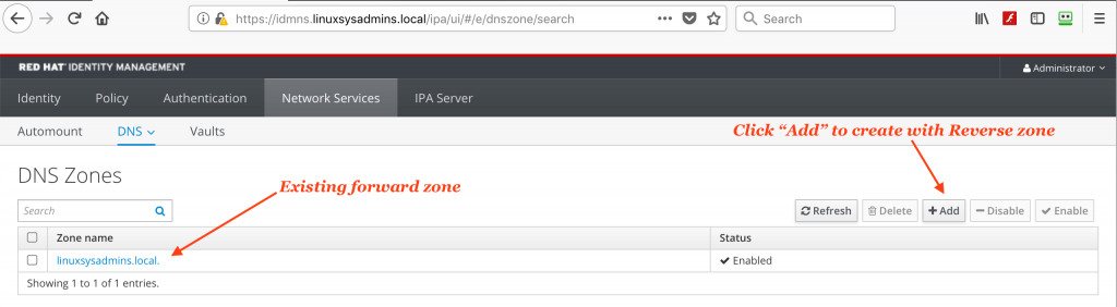 Add DNS reverse zone in IDM server