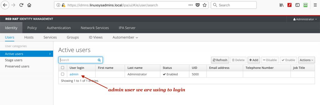 admin user in IPA server