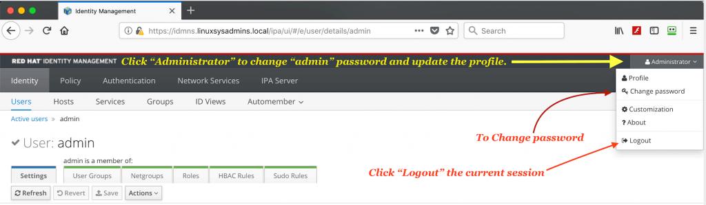 changing IPA server admin user password