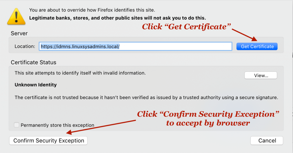 confirm security exception for IPA server