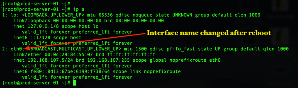 interface name after change