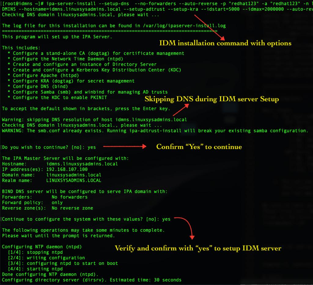 ipa-server-install command to install idm server