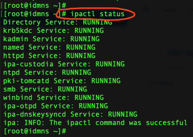 ipactl command for status check