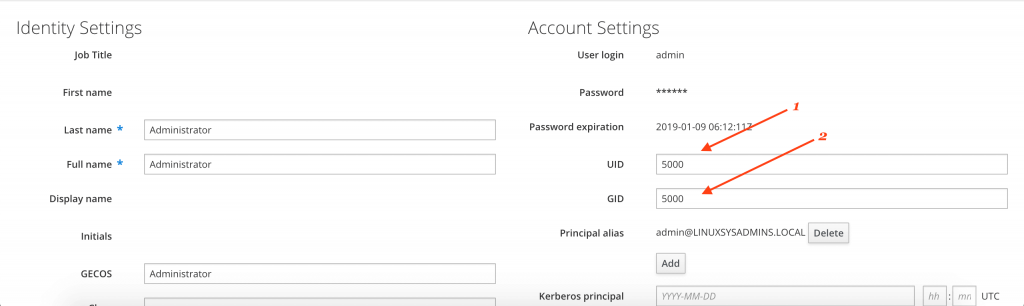 user defined UID and GID for IPA server