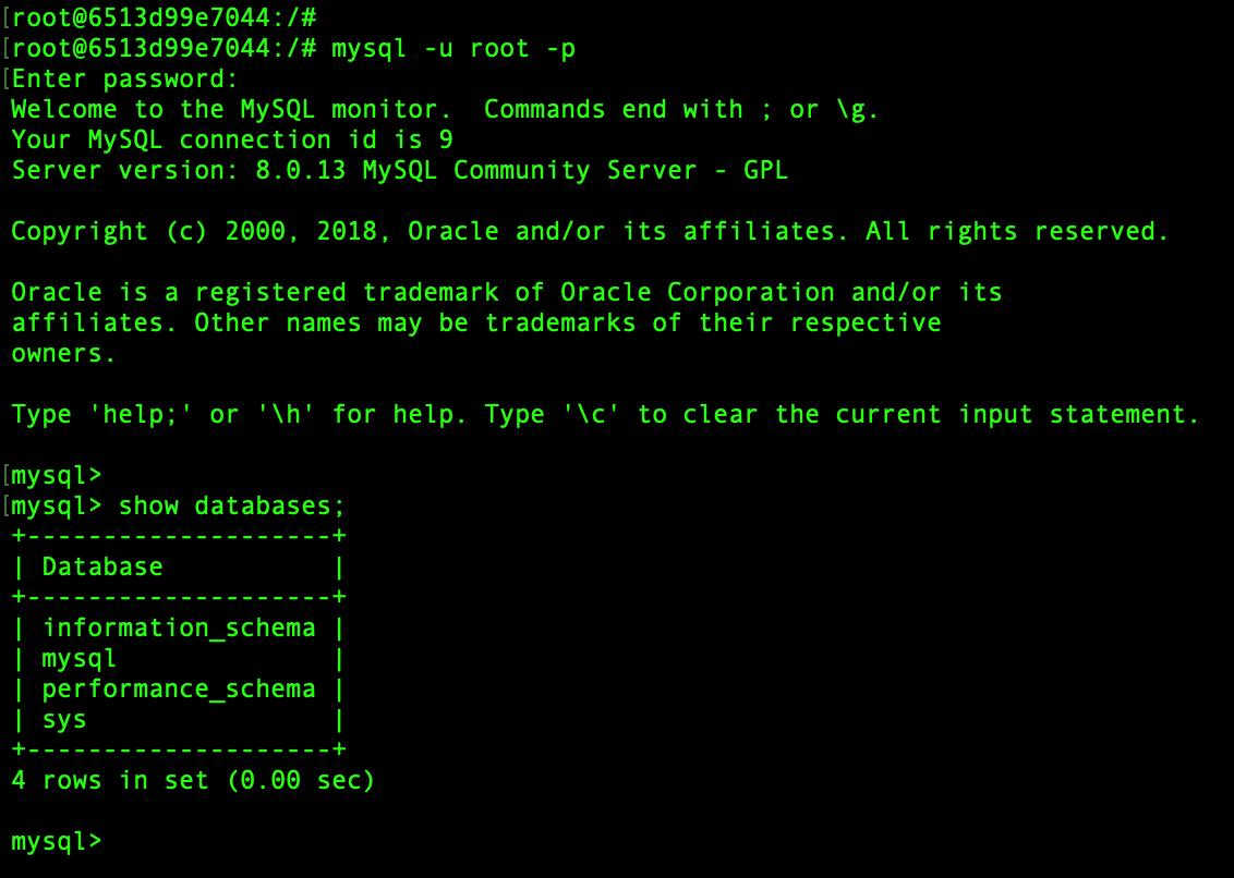 Verify MySQL login in Container