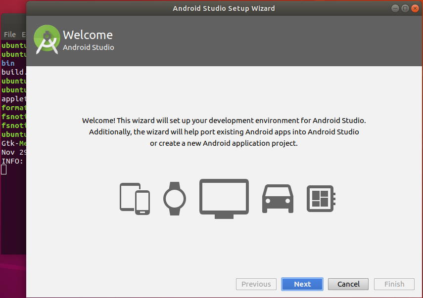 Android setup wizard after installation