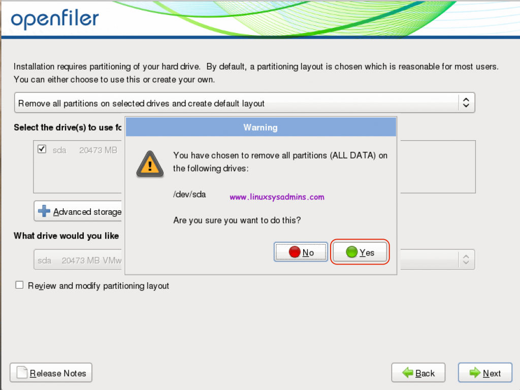 """Click """"Yes"""" to remove all existing partitions"""