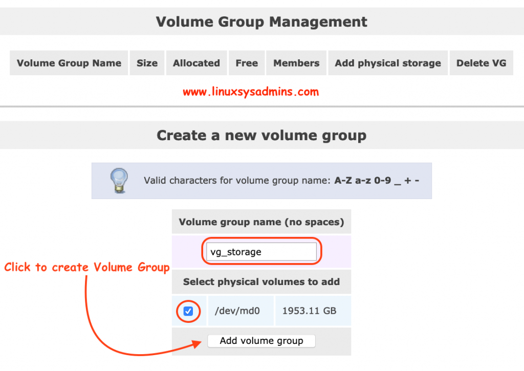 Create Volume group on RAID Array