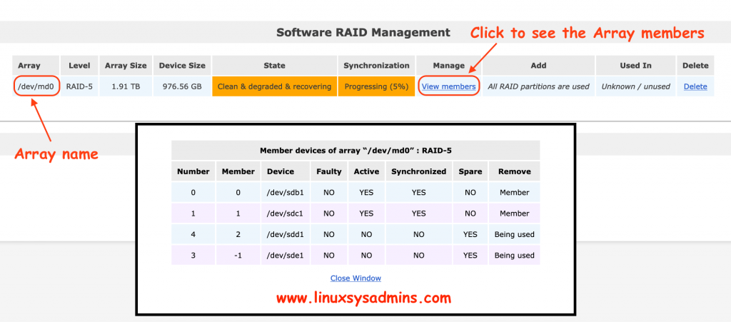 Status of RAID Array