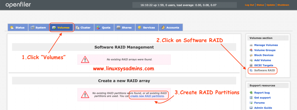 Create new RAID partitions