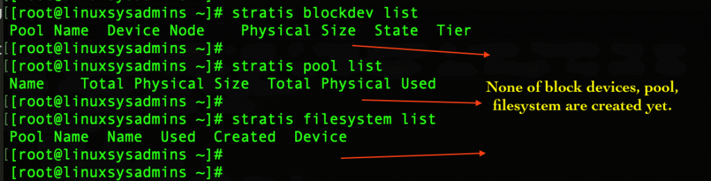 Stratis list to verify existing block, pool and fs
