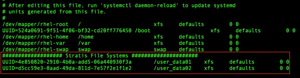 Stratis to create layered storage in RedHat Enterprise Linux 8 4