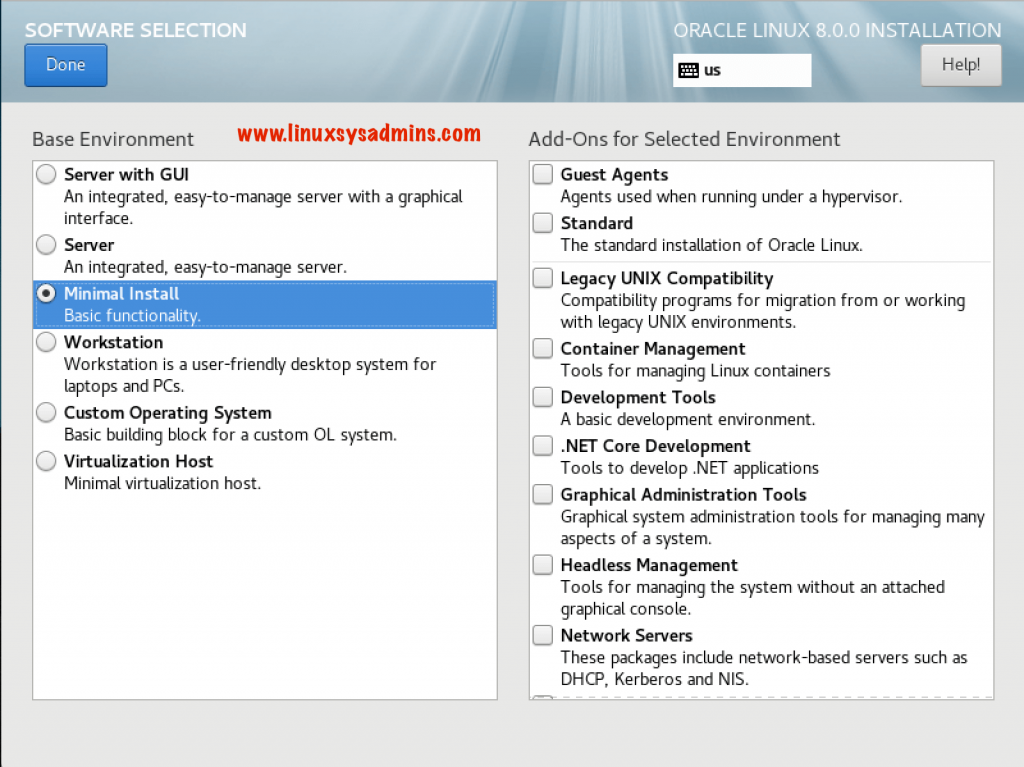 Oracle Linux 8 Installation software selection