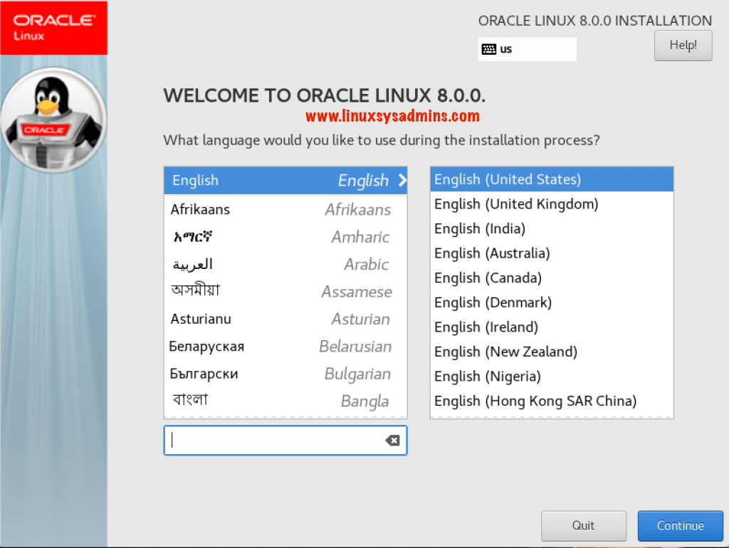 Oracle Linux 8 Installation Language selection Screen