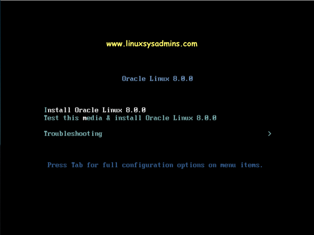Oracle Linux 8 Installation start Screen