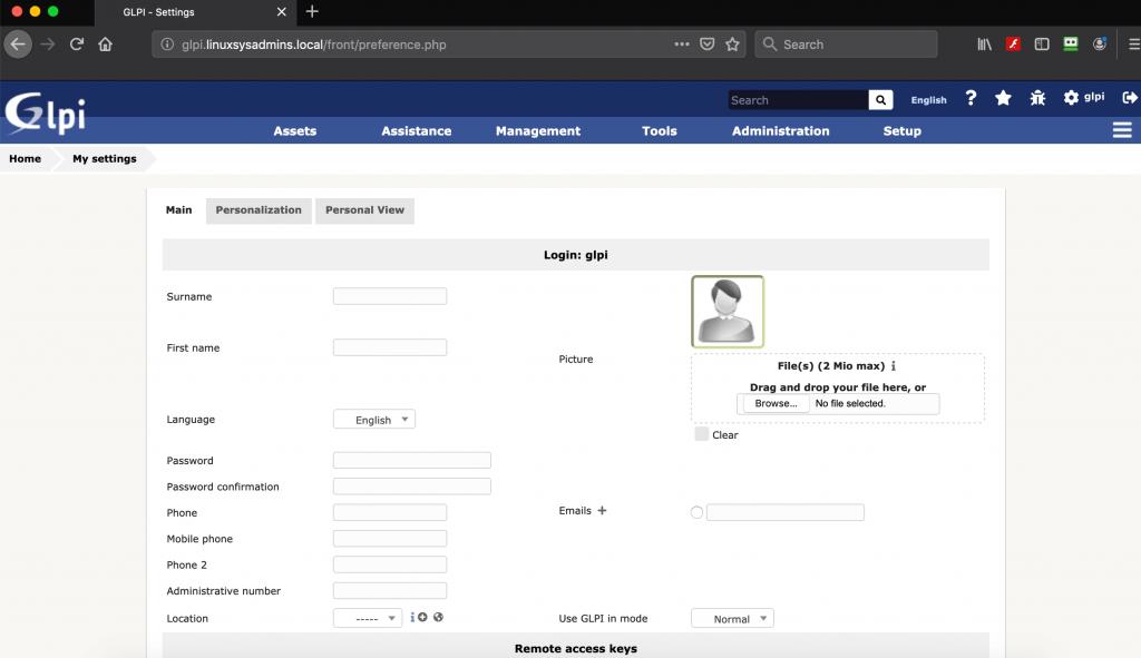 GLPI Change password for glpi User