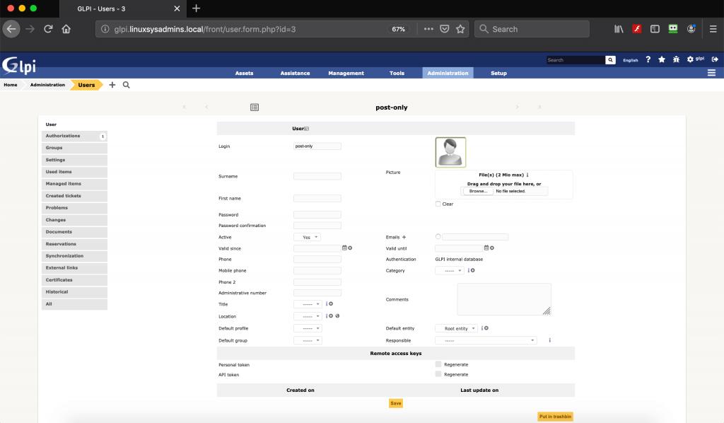 GLPI User Management