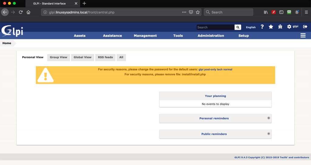 Home Dashboard of GLPI Asset Management