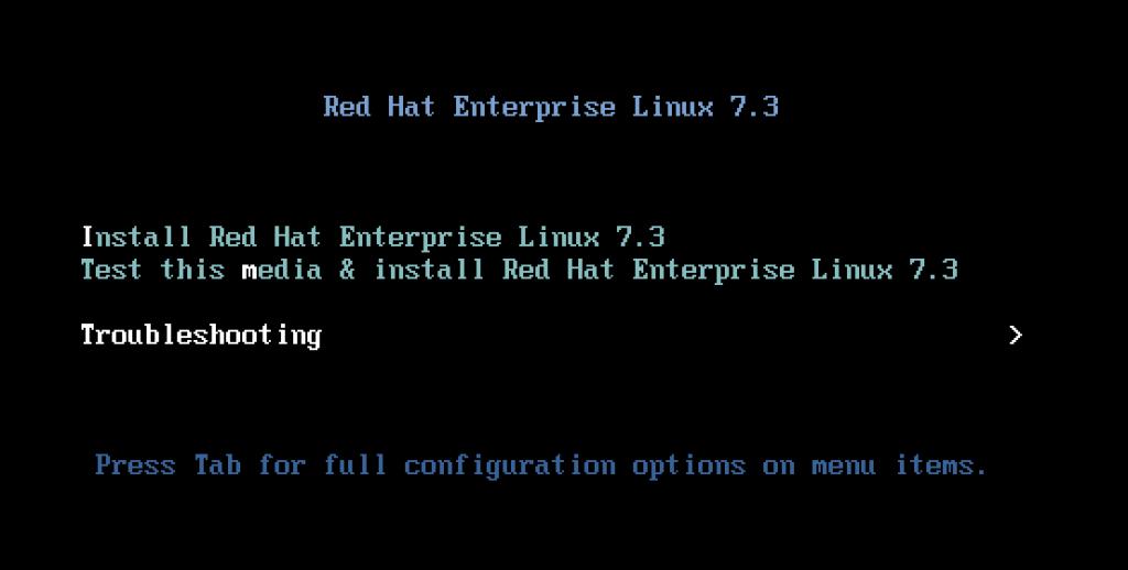 RHEL ISO boot screen