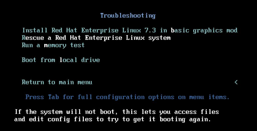 RHEL Rescue boot screen menu