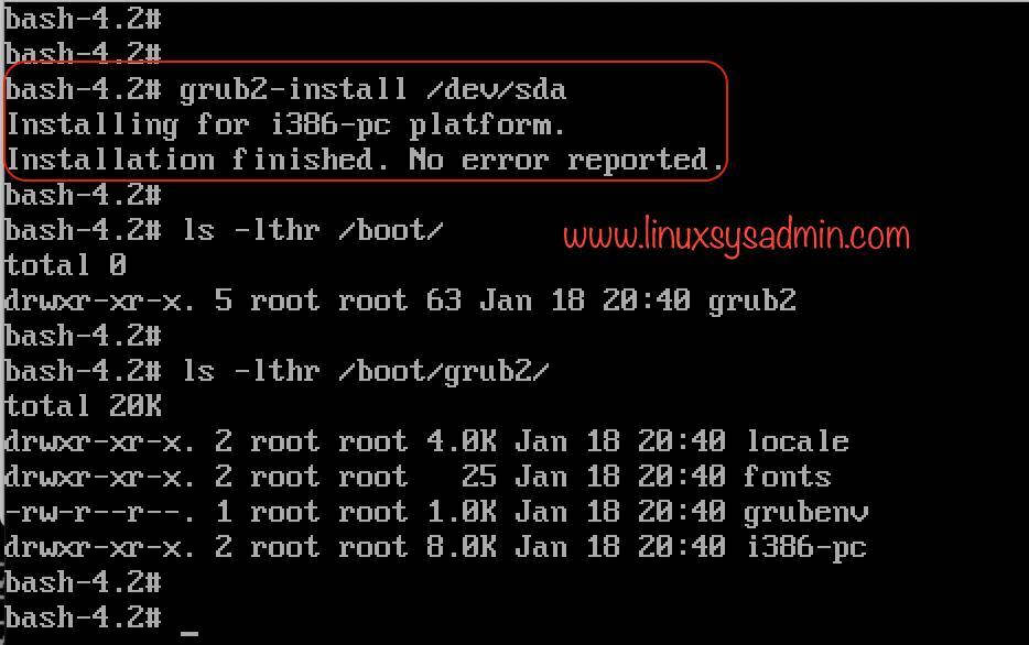 grub2-install to install the grub