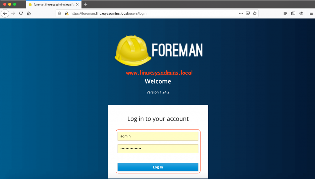 Foreman with katello Patch Management Login Page