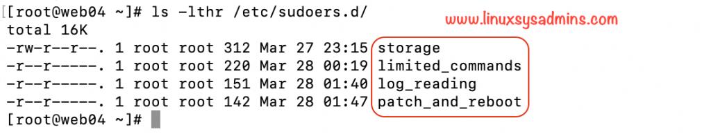 Linux sudo configurations
