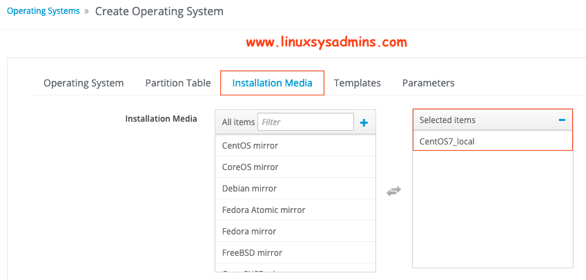 Selecting Installation media
