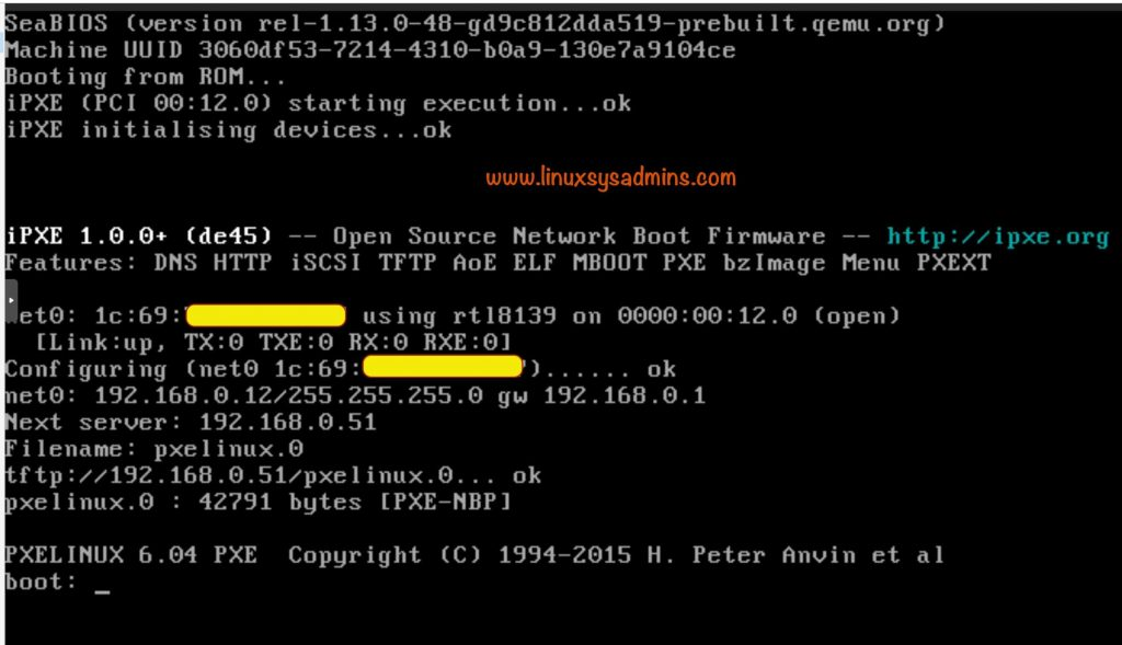 PXE boot starting