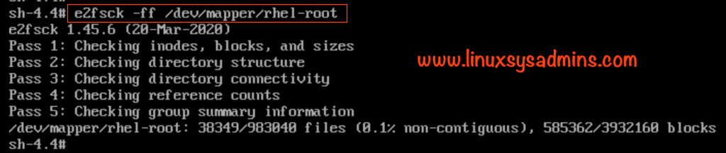Once again check filesystem after resizing root LVM