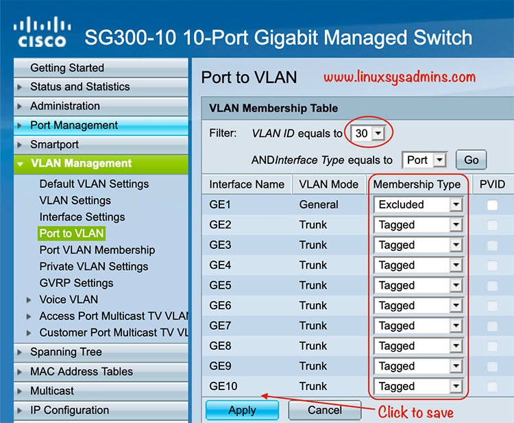Port to VLAN config