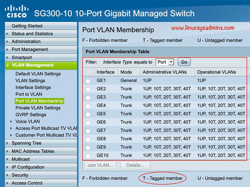 Verify the Port VLAN Membership