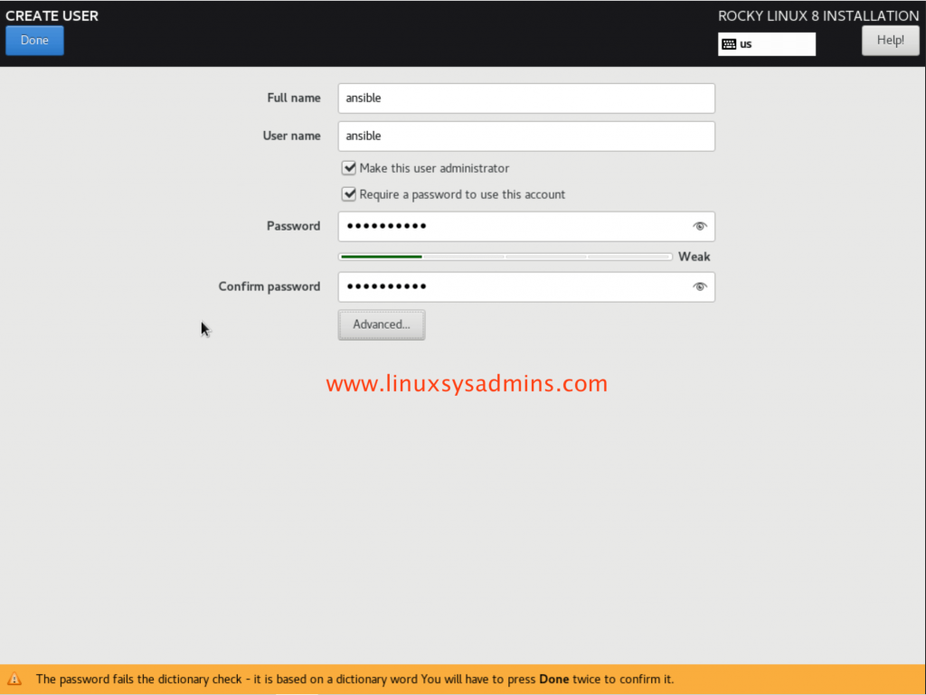 Create privileged user Rocky Linux 8