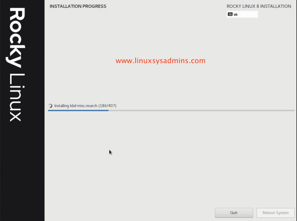 Installation in progress of Rocky Linux 8