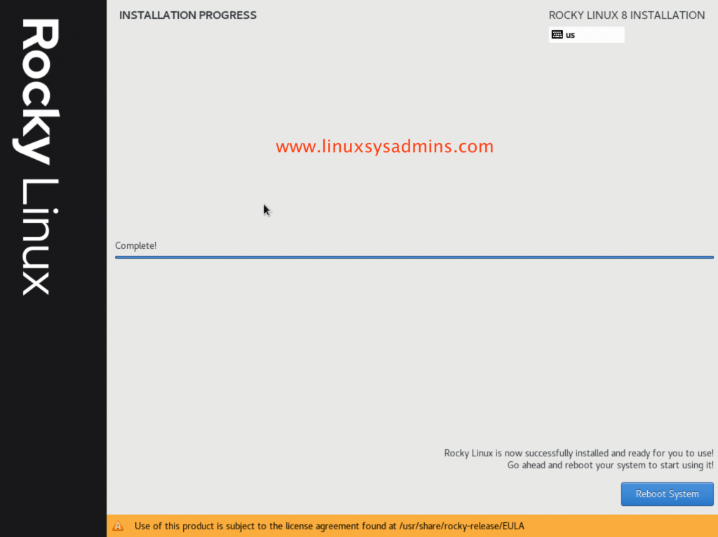 Rocky Linux Installation completed